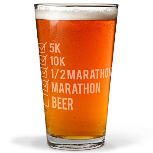 Runners Checklist Engraved Beer Pint Glass By Gone For a Run | 16 oz.