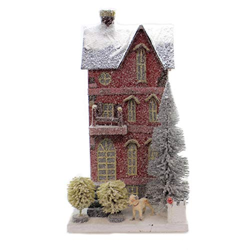 Cody Foster Red Tall City Townhouse with Dog Christmas Village House