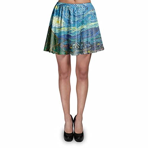 Skater Skirt - Van Gogh Starry Night Blue