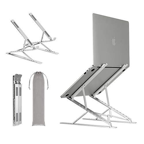 Neekor Portable Laptop Stand, Aluminium Alloy Adjustable Height Laptop Computer Stands, Ergonomic Foldable Desktop Holder,Ventilated Ultra-Thin Bracket for All Laptops MacBook and Ipad (2 Layer)