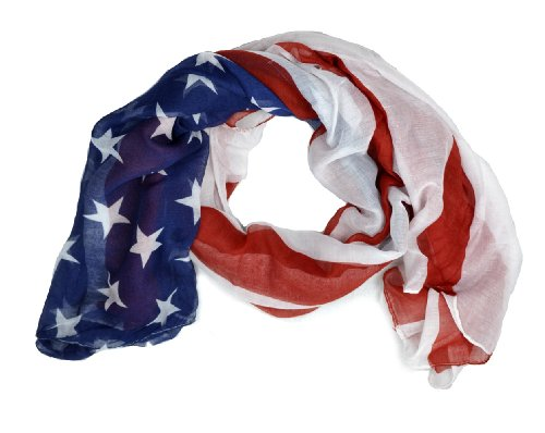 LibbySue-Red, White and Blue, Patriotic American Flag Scarf (USA)