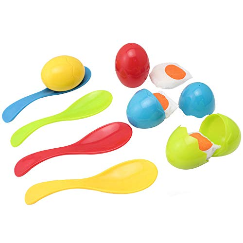 BOHS Egg and Spoon Race Game Set with Yolk - Backyard Lawn Family Fun - Field Fair Sport Christmas Party Toy for Kids