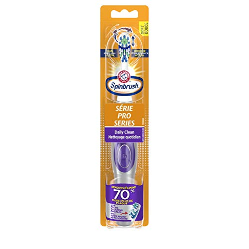 ARM & HAMMER Spinbrush PRO Clean Battery-Operated Toothbrush – Spinbrush Battery Powered Toothbrush Removes More Plaque vs. Manual Toothbrush- Soft Bristles -Batteries Included