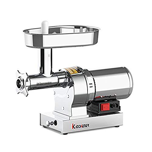 Kitchener Electric Meat Grinder Sausage Stuffer #8 1/2 HP 480Lbs Per/Hr 370 Watts Heavy Duty Commercial Grade Stainless Steel Body Cutlery Feeding Tray and Neck