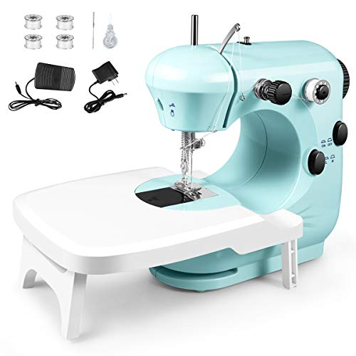 Sewing Machine, Portable Multifunctional Electric Sewing Machines for Beginners, Adjustable 2-Speed Double Thread Sewing Machine with Extension table, Foot Pedal, Night Lights for Home Travel
