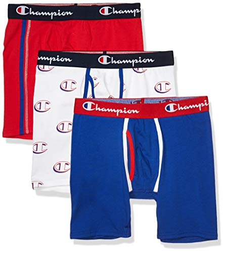 Champion Men's Everyday Comfort Cotton Stretch Boxer Briefs 3-Pack, Scarlet/Surf The Web/White Hollow C Logo, Small