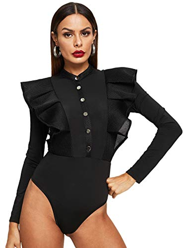 SOLY HUX Women's Stand Collar Button Front Fishnet Mesh Trim Ruffle Stretchy Skinny Bodysuit Black S