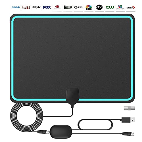 TV Antenna Indoor,Amplified HD Digital Indoor TV Antenna Up to 200 Miles Range,Support 1080p Fire Stick 4K and All Television,Signal Booster for 4K HD Local Channels 1080P VHF UHF - 16.5ft Coax Cable