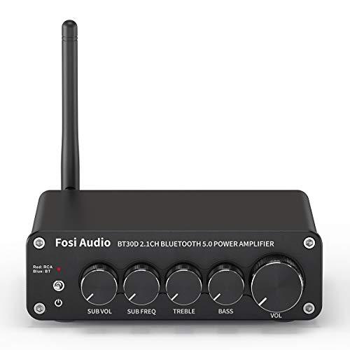 Fosi Audio BT30D Bluetooth 5.0 Stereo Audio Receiver Amplifier 2.1 Channel Mini Hi-Fi Class D Integrated Amp 50 Watt x2+100 Watt for Home Outdoor Passive Speakers/Subwoofer Powered Subwoofer