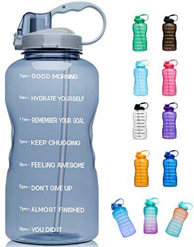 Giotto Large 1 Gallon/128oz (When Full) Motivational Water Bottle with Time Marker & Straw, Leakproof Tritan BPA Free, Ensure You Drink Enough Water Daily for Fitness, Gym and Outdoor Sports-Gray
