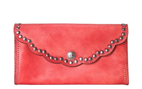 Rimen & Co. Genuine Reactionary-studded-edging Decor Leather Flap Wallet Red