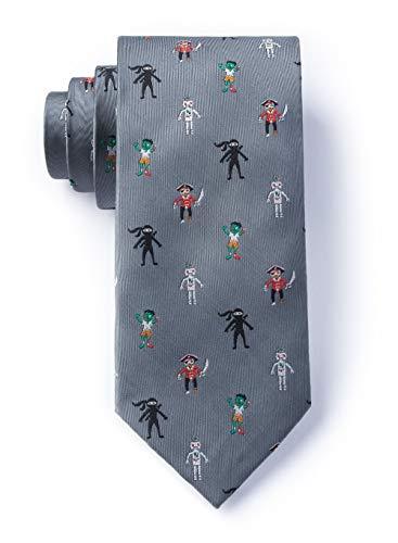 Zombie Pirate Ninja Robot Gray Microfiber Tie