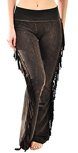 T Party Women's Fringe Leg Mineral Wash Yoga Pants (Small, Brown)