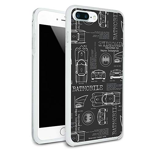 Batman Batmobile Blueprint Pattern Protective Slim Fit Hybrid Rubber Bumper Case for Apple iPhone 7 and 7 Plus