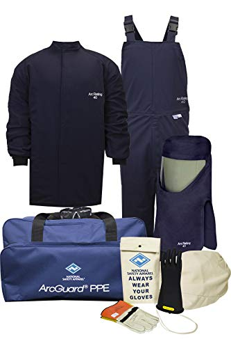National Safety Apparel KIT4SC40XL12 ArcGuard Compliance CAT 4 Arc Flash Kit with FR Short Coat and Bib Overall, 40 Calorie, X-Large/Glove Size 12, Navy