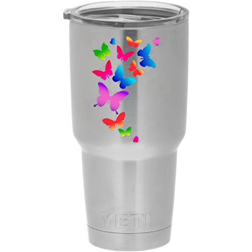 Cups drinkware tumbler sticker - Colorful butterflies - cool sticker decal