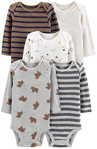 Simple Joys by Carter's Boys' 5-Pack Long-Sleeve Bodysuit, Bears/Animals Green/Stripes, 3-6 Months