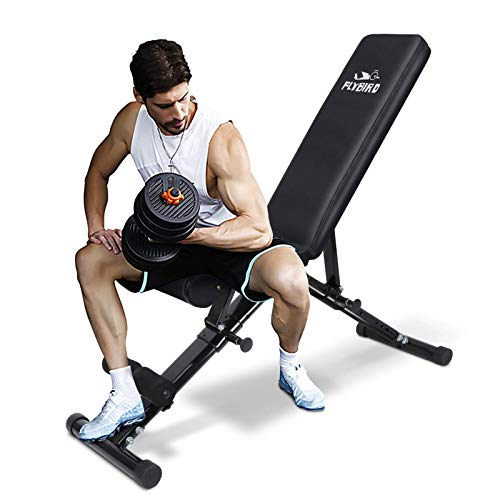 FLYBIRD Weight Bench, Adjustable Strength Training Bench for Full Body Workout with Fast Folding- 2020 Version