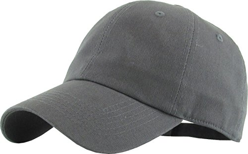 KB-LOW DGY Classic Cotton Dad Hat Adjustable Plain Cap. Polo Style Low Profile (Unstructured) (Classic) Dark Gray Adjustable