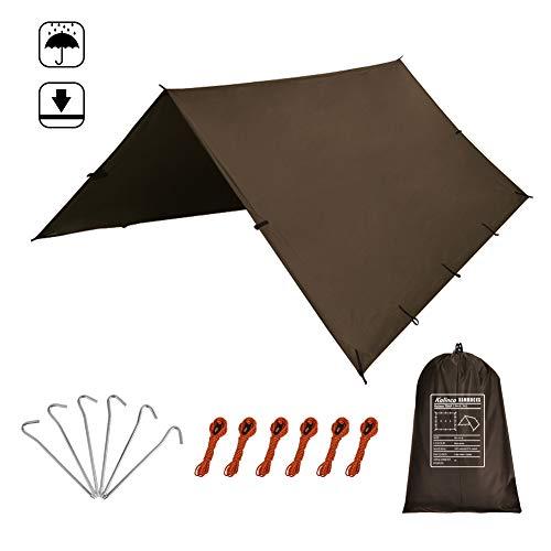 KALINCO 10X10FT/10X15FT,Tent Tarp,Picnic Mat Camping Tarp Tent Hammock Tarp, pu Waterproof Camping tarp Tent Rain Fly Picnic Mat Survival Shelter Sunshade(Coffee)