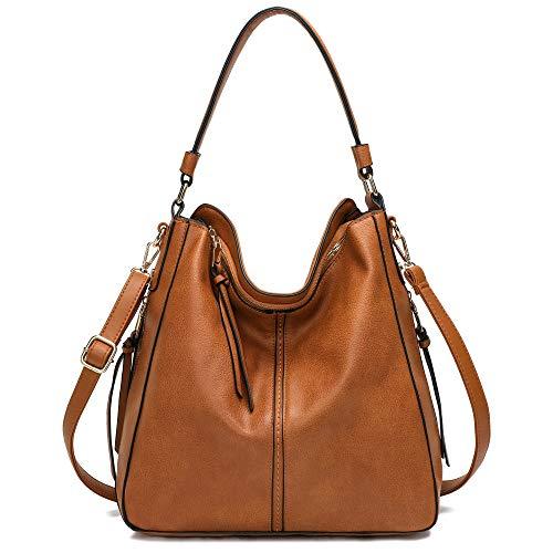 Hobo Bags for Women,DDDH Ladies Handbags Purses Crossbody Shoulder Bucket Bag Faux Leather Camel