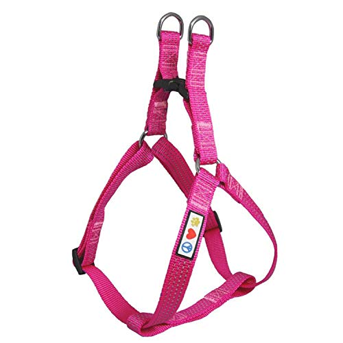 Pawtitas Pet Soft Adjustable Step-In Reflective Puppy / Dog Harness Small 5/8 Inch Pink