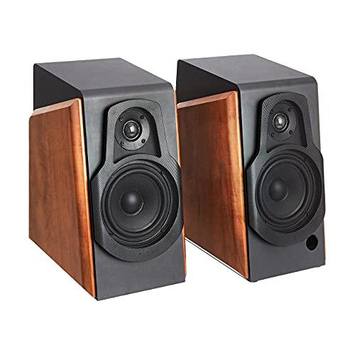 Amazon Basics Bookshelf Speakers with Active Speaker, 80W, 20-20KHz