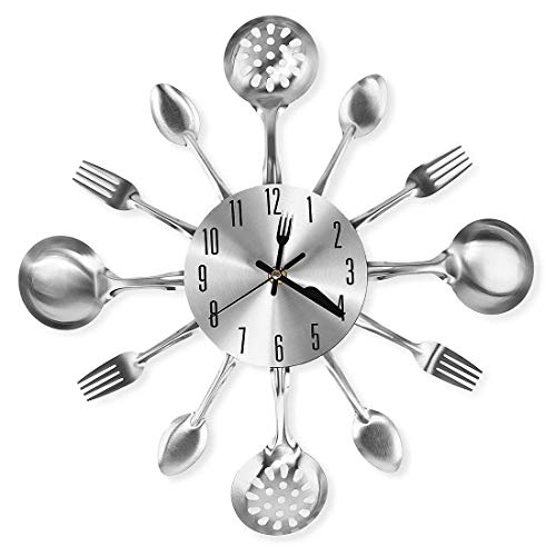 CIGERA 14' Kitchen Cutlery Wall Clock with Forks and Spoons for Home Decor,Sliver