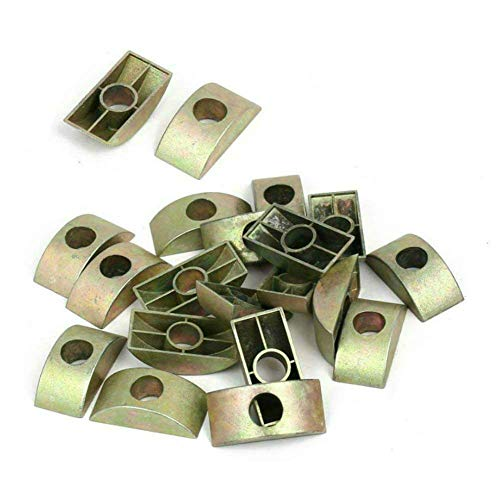 AKOAK 20 Count 8mm Hole Dia Bronze Tone Furniture Connector Nuts Half Moon Nuts Spacer Washer for Connect Furniture