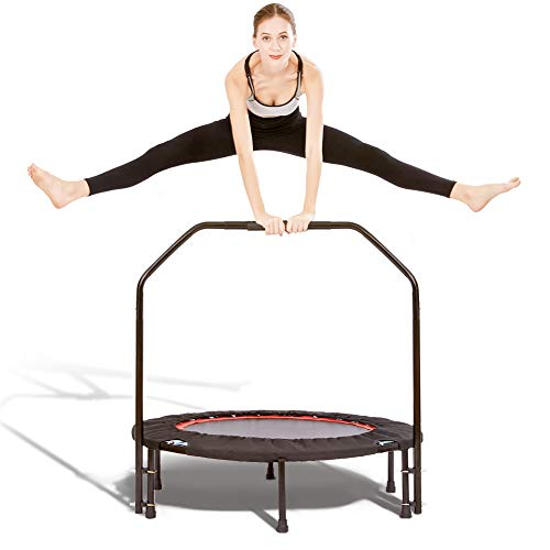 BSPORTY Foldable Trampoline-40 Inch Mini Fitness Rebounder with Adjustable Foam Handrail for Kid Adults,Great Exercise Trampoline Indoor/Garden/Workout,Max Load 330lbs