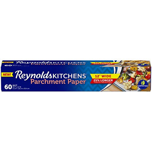 Reynolds Kitchens Non-Stick Parchment Paper - Amazon Exclusive 12 inch - 60 Square Feet, 2 PACK
