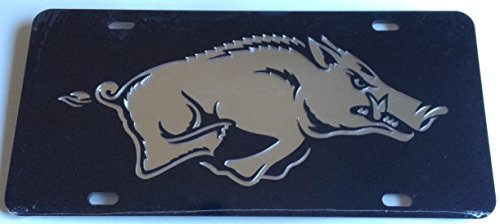 Arkansas Razorbacks Black Silver Mirrored Car Tag - Hogs License Plate