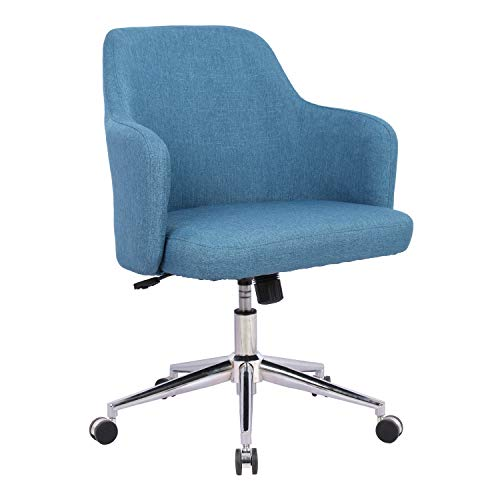 Home Office Chair, Upholstered Mid Back Support Swivel Computer Desk Task Chairs Adjustable Height with Armrests, Navy