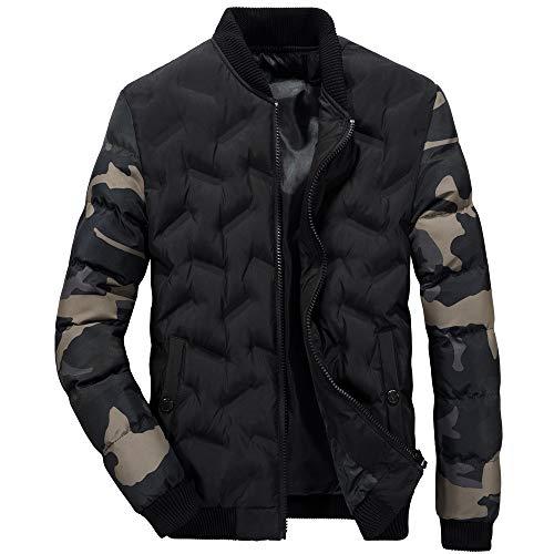 FIRERO Men's Autumn Winter Camouflage Sleeve Jacket Patchwork Zipper Thermal Coat Stand Collar Outwear