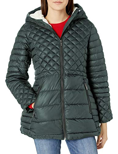 Steve Madden Women's Insulated Parka Jacket, Multi Quilted Glacier Shield Forest Green, L
