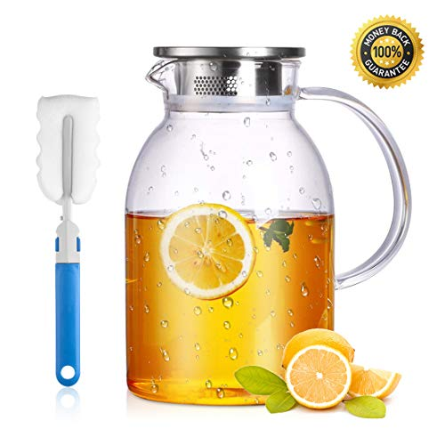 75 Ounces Large Heat Resistant Glass Beverage Pitcher with Stainless Steel Lid, Borosilicate Water Carafe with Spout and Handle, Perfect for Homemade Juice and Iced Tea
