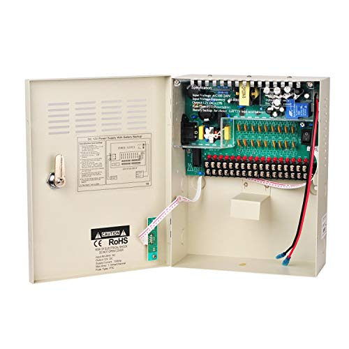 Xenocam 18 Channel 18 Way 12V 10Amp DC Metal Boxed Cabinet Regulated Power Supply Unit with Backup Battery Link for Burglar Alarms CCTV Cameras PTZ Access Control