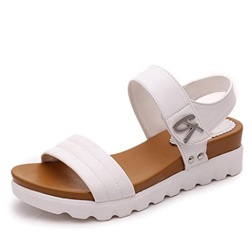 AIMTOPPY Summer Sandals Women Aged Flat Fashion Sandals Comfortable Ladies Shoes (US:7.5, White)