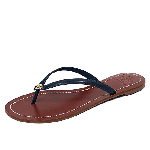 Tory Burch Terra Thong Flip Flops Leather Thong Sandals (10, Perfect Navy Gold 444)