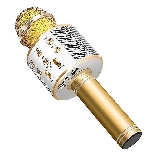 Wireless Bluetooth Karaoke Microphone Machine,Portable Handheld Karaoke Bluetooth Handheld Karaoke Speaker Player Machine for Kids Adults Home KTV Party for Android/iPhone/Ipad/Pc Girl Boy (Gold)