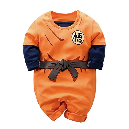 Beal Shopping Baby Boy Girl Goku Modeling Jumpsuit Long Sleeve Cute Rompers Newborn Cosplay Tights, Orange1, 1-3 Months