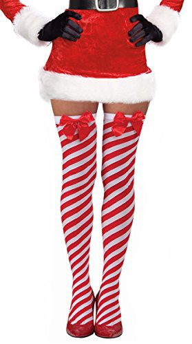 Costume Adventure Candy Cane Red White Striped Over The Knee Christmas Stockings