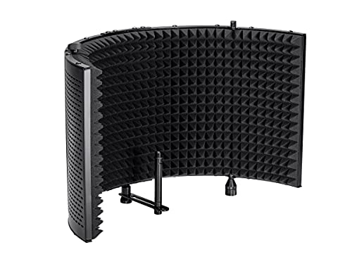 Monoprice Microphone Isolation Shield - Black - Foldable with 3/8in Mic Threaded Mount, High Density Absorbing Foam Front and Vented Metal Back Plate