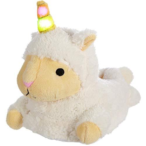 Girls Unicorn Llamacorn Plush Slippers with Light Up LED Horn, Llama Alpaca Sheep Lamb Unicorn Mix Slippers for Women and Girls with Light Up LED Horn