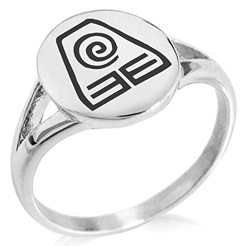 Tioneer Stainless Steel Avatar Earth Element Symbol Minimalist Oval Top Polished Statement Ring, Size 8