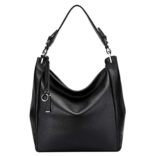 PIJUSHI Soft Leather Purses and Handbags for Women Genuine Leather Hobo Bag Shoulder Purse for Ladies Large Crossbody Bags(PJS600S Black)