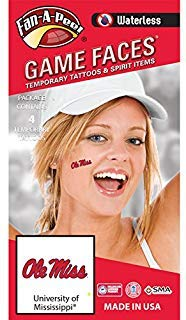 University of Mississippi (Ole Miss) Rebels – Waterless Peel & Stick Temporary Spirit Tattoos – 4-Piece – Red/Navy Blue Ole Miss