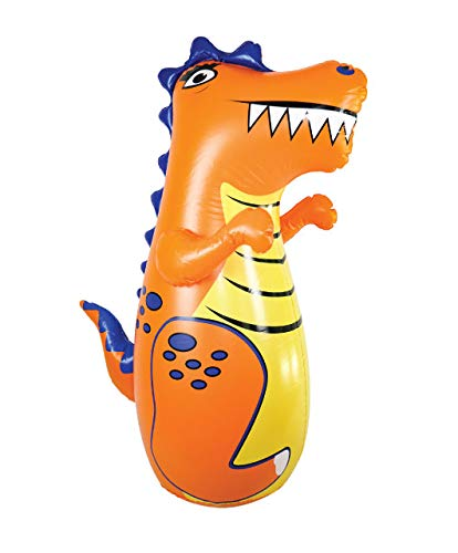 J&A's Inflatable Dudes Dinosaur (Rex) 47 Inches - Bop Bag | Kids Punching Bag | Inflatable Toy | Boxing - Premium Vinyl- Base is Already Filled with Sand for Bounce-Back Action! Weighted Bottom