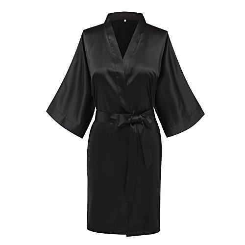 Joy Bridalc Women's Satin Short Kimono Bridemaid Robe Bathrobe for Wedding Party, Black XL