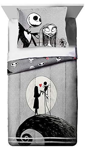 Disney Nightmare Before Christmas Moonlight Twin Comforter & Sham Set - Super Soft Kids Reversible Bedding features Jack Skellington and Sally - Fade Resistant Microfiber (Official Disney Product)
